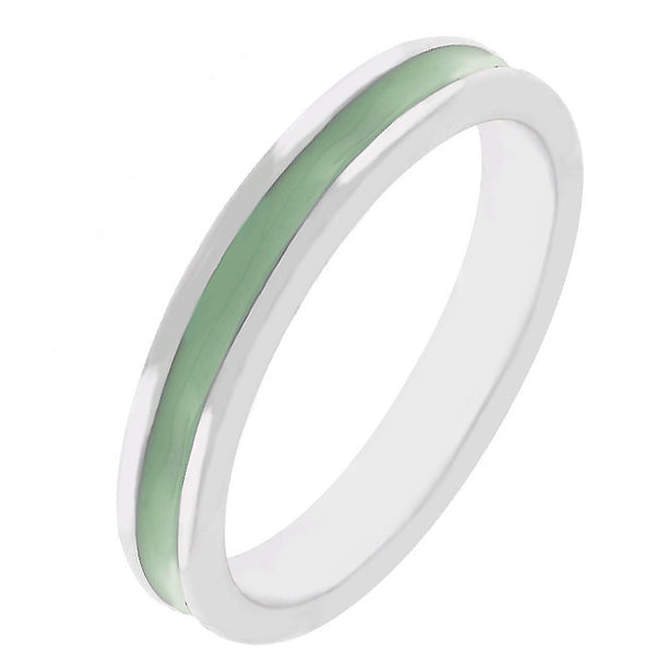 Stackable Enamel Eternity Ring in Light Green-Rings-Here Comes The Bling™