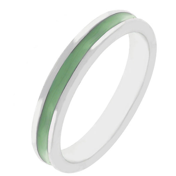 Stackable Enamel Eternity Ring in Olive Green-Rings-Here Comes The Bling™
