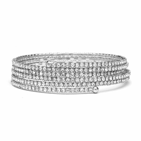Stackable-Look Rhinestone Coil Bracelet-Bracelets-Here Comes The Bling™