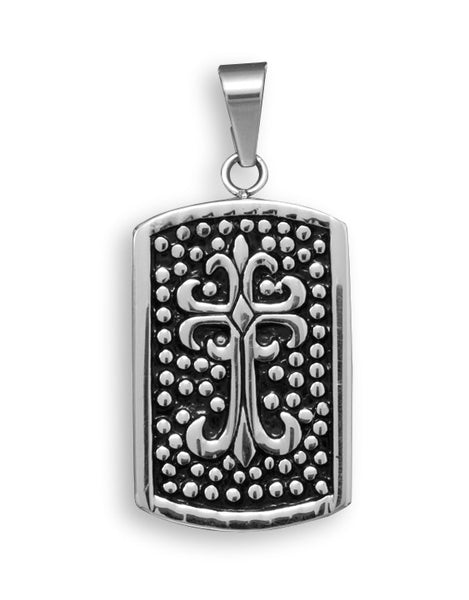 Stainless Steel Cross Design Tag Pendant-Mens-Necklaces-Here Comes The Bling™