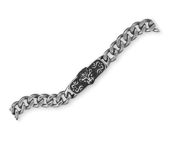 Stainless Steel Lion Design ID Men's Bracelet-Mens-Bracelets-Here Comes The Bling™