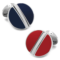 Stainless Steel Reversible Navy and Red Cufflinks-Cufflinks-Here Comes The Bling™