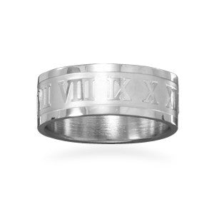 Stainless Steel Roman Numeral Ring-Men's-Rings-Here Comes The Bling™