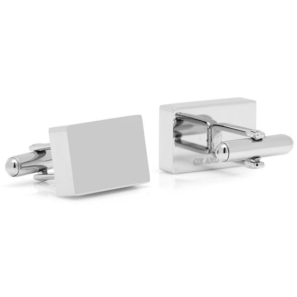 Stainless Steel Silver Block Cufflinks-Cufflinks-Here Comes The Bling™