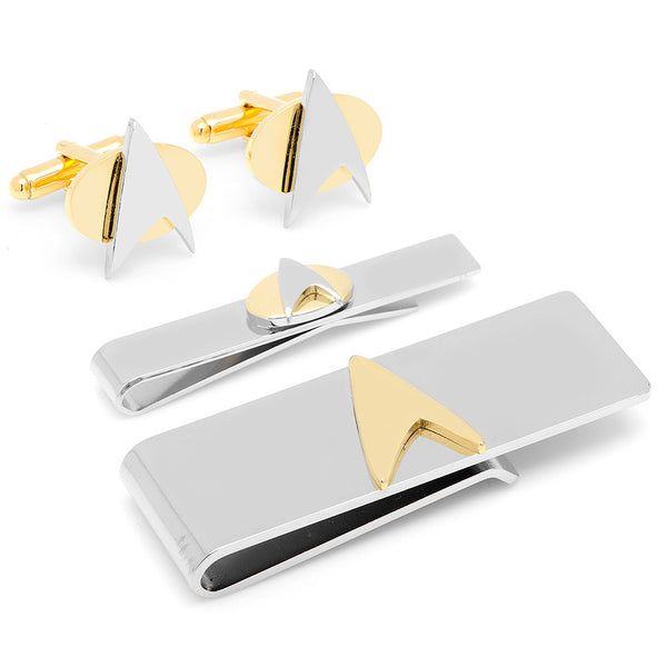 Star Trek Two-Tone Delta Shield 3-Piece Gift Set-Mens 3 Piece Gift Set-Here Comes The Bling™