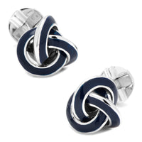 Sterling Blue Enamel Knot Cufflinks-Cufflinks-Here Comes The Bling™