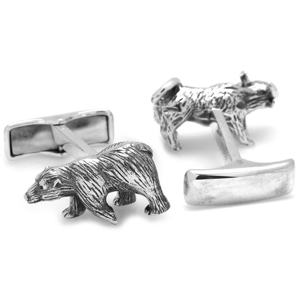 Sterling Bull and Bear Cufflinks-Cufflinks-Here Comes The Bling™