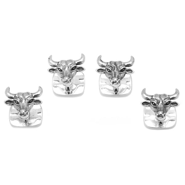 Sterling Bull Head Studs-Tux Stud Set-Here Comes The Bling™