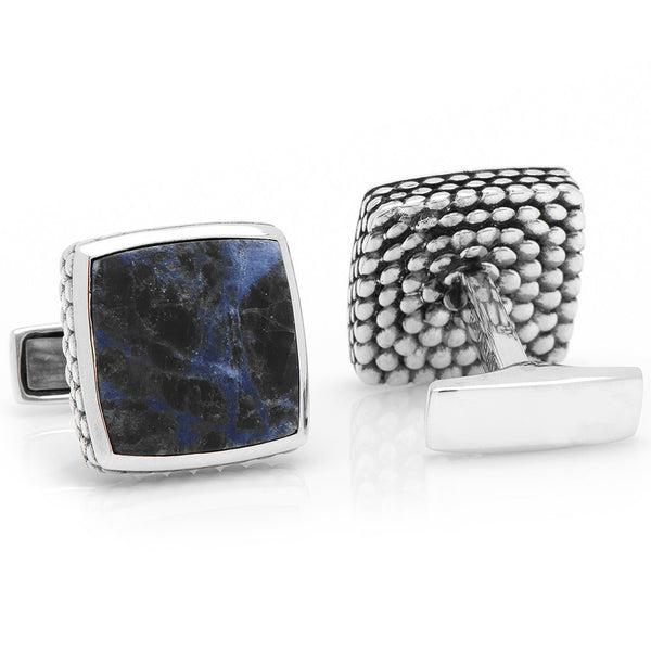 Sterling Classic Scaled Lapis Cufflinks-Cufflinks-Here Comes The Bling™