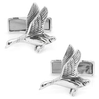 Sterling Duck Hunting Cufflinks-Cufflinks-Here Comes The Bling™