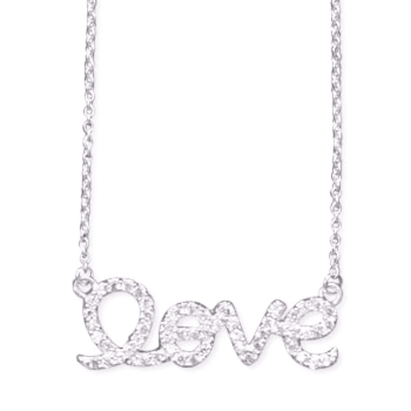 "Sterling Silver CZ ""love"" Necklace-Necklaces-Here Comes The Bling™"