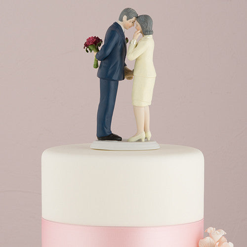 """Still in Love"" Mature Couple Cake Topper ( Select From 7 Hair Colors )-Cake Toppers-Here Comes The Bling™"