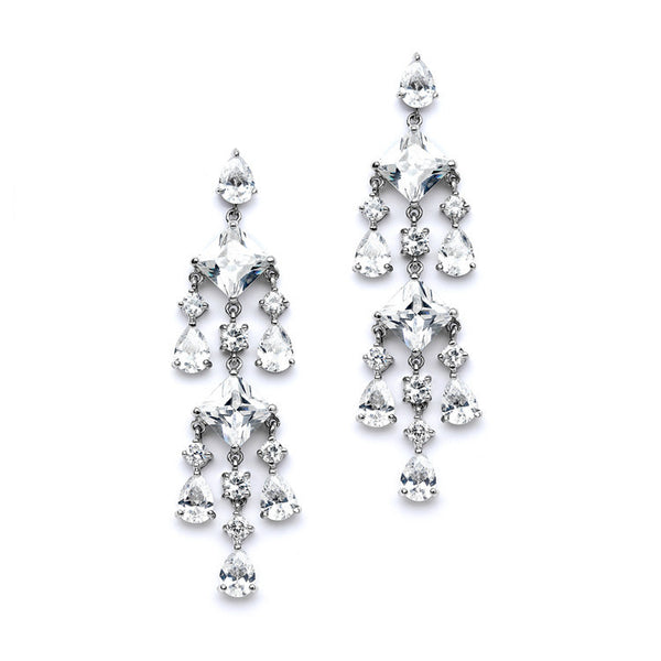 Stunning Geometric Cubic Zirconia Chandelier Earrings-Earrings-Here Comes The Bling™