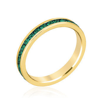 Stylish Stackables Gold and Green Crystal Eternity Ring-Rings-Here Comes The Bling™
