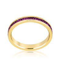 Stylish Stackables Gold and Purple Crystal Eternity Ring-Rings-Here Comes The Bling™