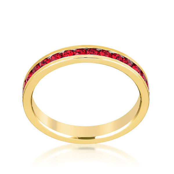 Stylish Stackables Gold and Ruby Red Eternity Ring-Rings-Here Comes The Bling