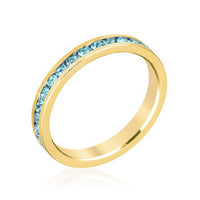 Stylish Stackables Gold ans Aqua Crystal Eternity Ring-Rings-Here Comes The Bling™