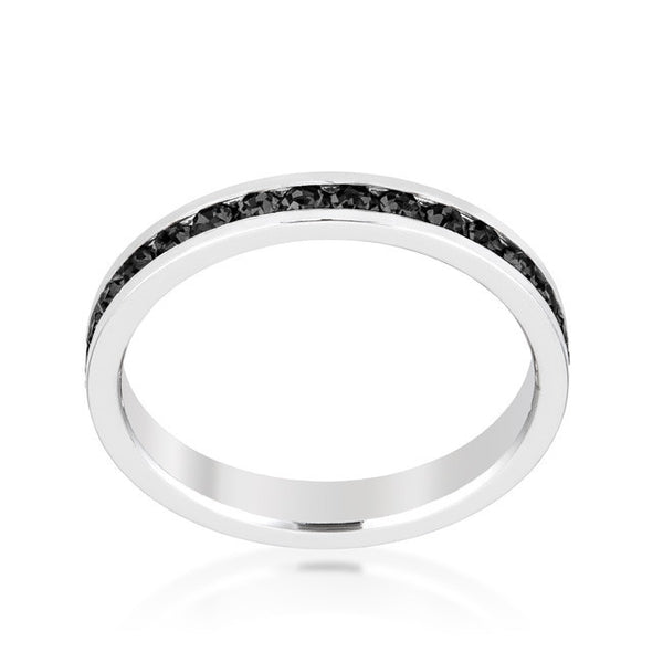 Stylish Stackables Rhodium and Jet Black Crystal Eternity Ring-Rings-Here Comes The Bling™