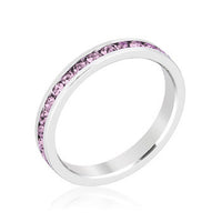 Stylish Stackables Rhodium and Lavender Crystal Eternity Ring-Rings-Here Comes The Bling™