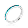 Stylish Stackables Rhodium and Turquoise Crystal Eternity Ring-Rings-Here Comes The Bling™