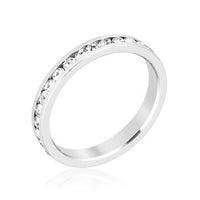Stylish Stackables Rhodium Clear Crystal Eternity Ring-Rings-Here Comes The Bling™