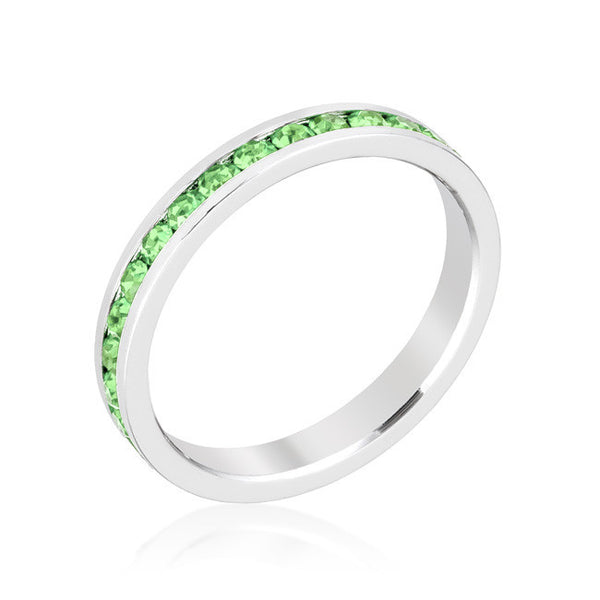 Stylish Stackables Rhoduim and Peridot Crystal Eternity Ring-Rings-Here Comes The Bling™
