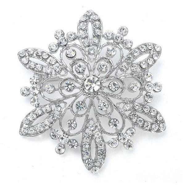 Sunburst Crystal Brooch Pin-Brooches-Here Comes The Bling™
