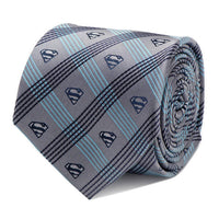 Superman Gray Plaid Tie-Tie-Here Comes The Bling™