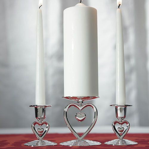 Suspended Heart Taper Candle Holders Pack of 2-Unity Candle-Here Comes The Bling™