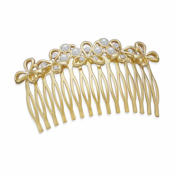 Swarovski Crystal and Pearl Gold Bridal Hair Comb-Combs-Here Comes The Bling™