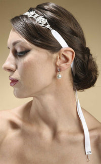 Swarovski Crystal Bridal Headband with Ribbon - Ivory-Headband-Here Comes The Bling™