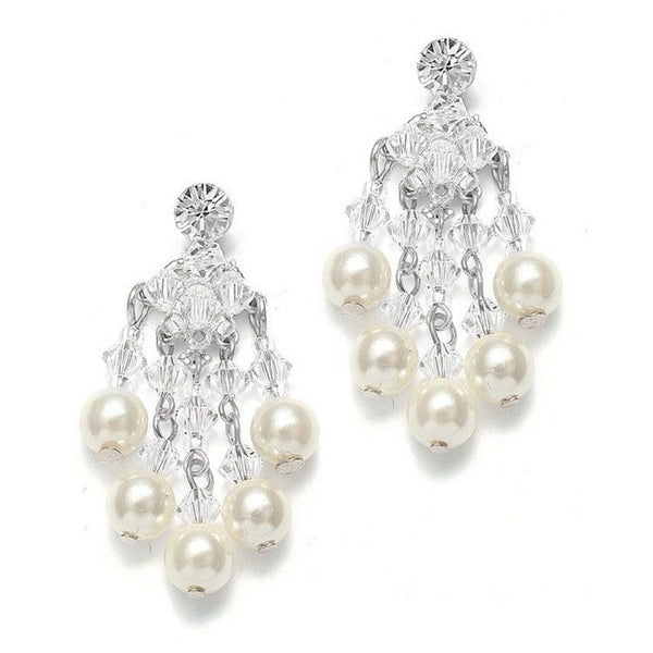 Swarovski Crystal & Pearl Chandelier Clip-On Earrings-Earrings-Here Comes The Bling™