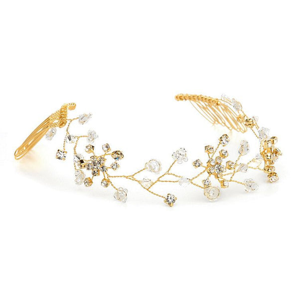 Swarovski Crystal Tiara Vine Halo (Available in Gold or Silver)-Headband-Here Comes The Bling™