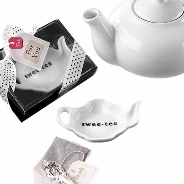 """Swee-Tea"" Ceramic Tea-Bag Caddy in Black & White Serving-Tray Gift Box-Favors-Kitchen Tools-Here Comes The Bling™"
