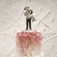 """Swept Up in His Arms"" Cake Topper with Custom Shoe Color ( Select From 7 Hair Colors )-Cake Toppers-Here Comes The Bling™"