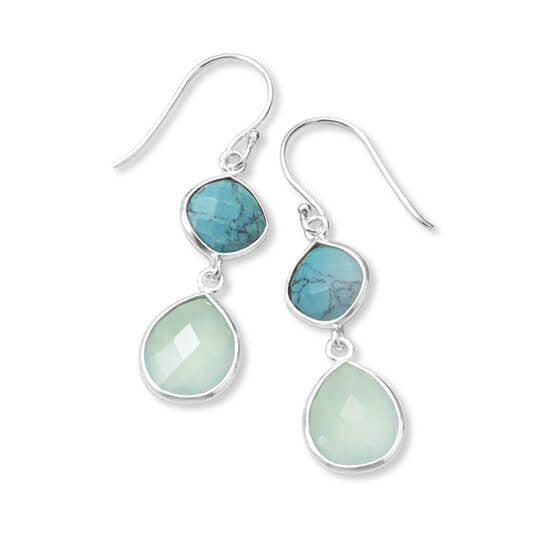 Synthetic Turquoise and Sea Green Chalcedony Drop Earrings-Earrings-Here Comes The Bling™