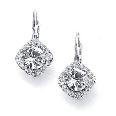 Tailored Crystal Solitaire Silver Drop Earrings-Earrings-Here Comes The Bling™