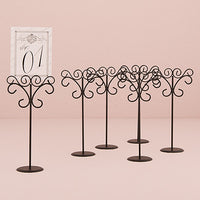 Tall Scroll Wire Stationery Holders in Black (Pack of 6)-Decor-Place Card Holders-Here Comes The Bling™