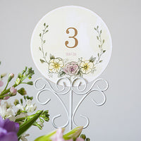 Tall Scroll Wire Stationery Holders in White (Pack of 6)-Decor-Place Card Holders-Here Comes The Bling™