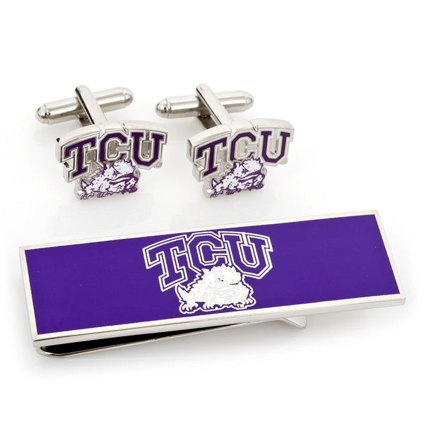 TCU Horned Frogs Cufflinks and Money Clip Gift Set-Mens 3 Piece Gift Set-Here Comes The Bling™