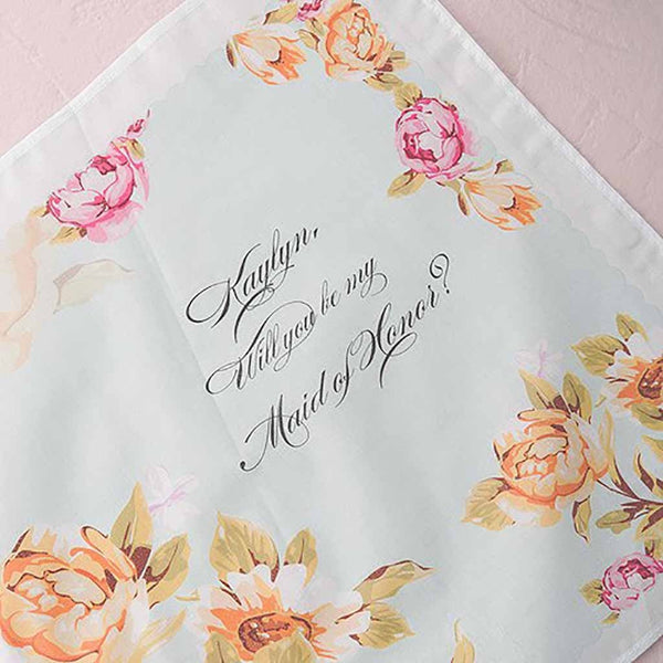 Tea Rose Bridesmaid-Proposal Personalized Handkerchief-Hankie-Here Comes The Bling™