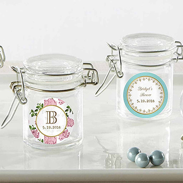 """Tea Time"" Glass Favor Jars (Set of 12)-Favors-Jar-Here Comes The Bling™"