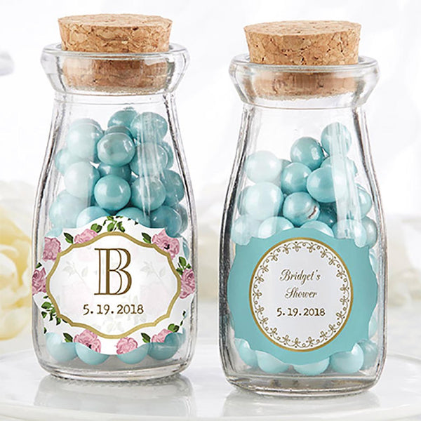"""Tea Time"" Glass Favor Milk Jars (Set of 12)-Favors-Jar-Here Comes The Bling™"