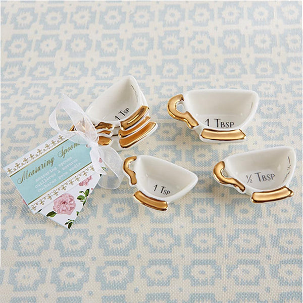 """Tea Time"" Whimsy Ceramic Teacup Measuring Spoons-Favors-Kitchen Tools-Here Comes The Bling™"