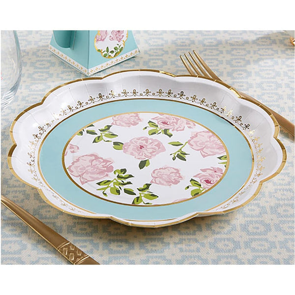 """Tea Time"" Whimsy Floral Paper Plates (Pack of 16)-Dinnerware-Here Comes The Bling™"