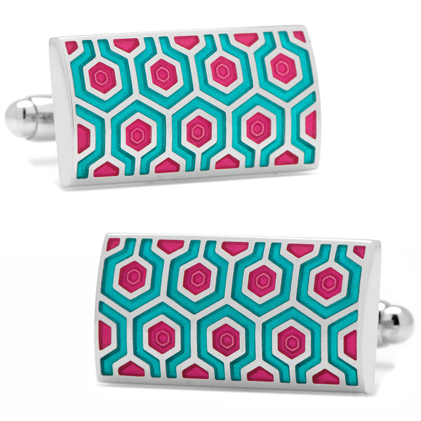 Teal and Pink Honeycomb Cufflinks-Cufflinks-Here Comes The Bling™