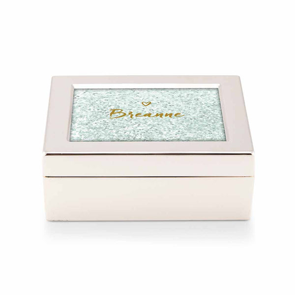 Teal Breeze Glitter Heart Print Personalized Jewelry Box (Available in 3 Colors)-Jewelry Box-Here Comes The Bling™