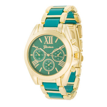 Teal Gold Watch-Watches-Here Comes The Bling