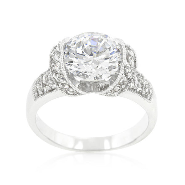 Tension Set Cubic Zirconia Engagement Ring-Rings-Here Comes The Bling™
