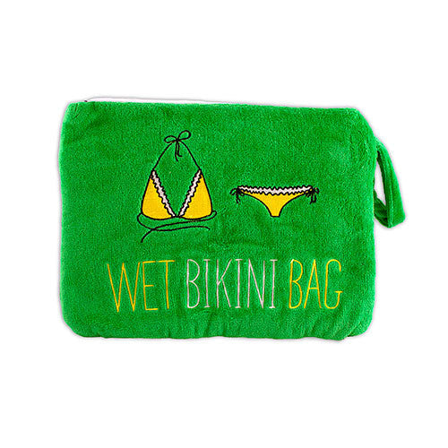 Terry Velour Wet Bikini Bag - Greem-Pouch-Here Comes The Bling™